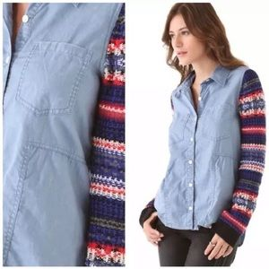 FREE PEOPLE We The Free Sweater Sleeve Chambray L